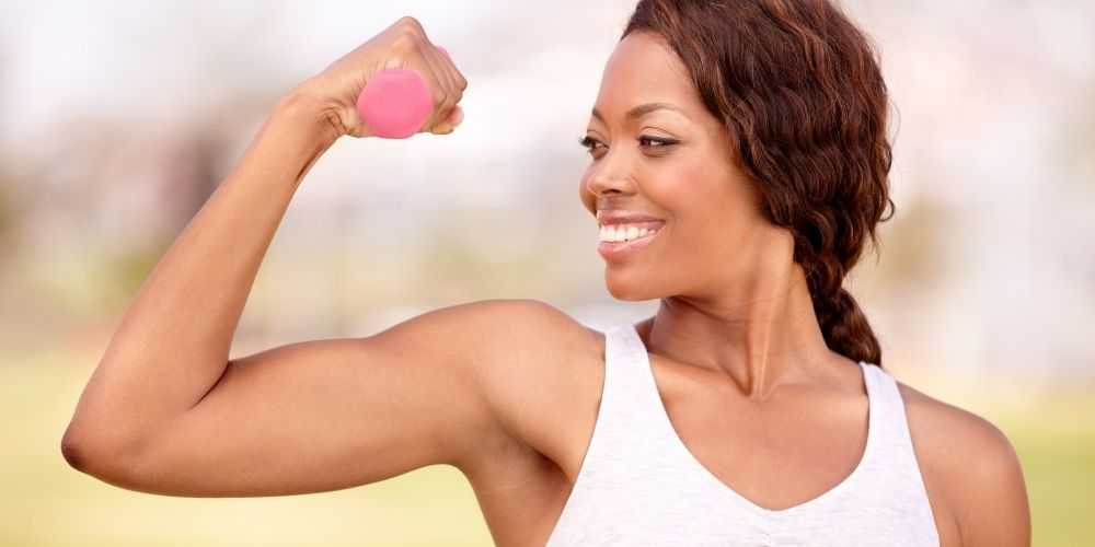 woman with toned arms